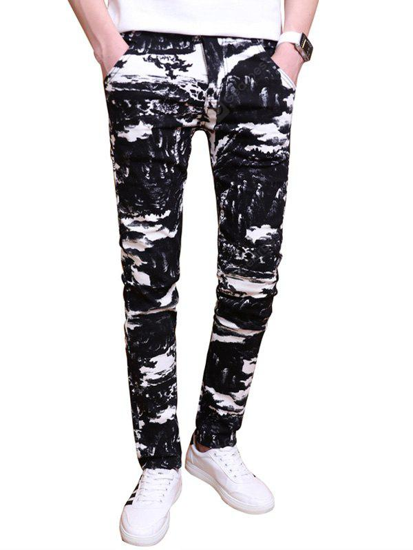 All Over Printed Zipper Fly Skinny Pants