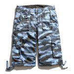 Multi Pockets Zip Fly Camuflagem Cargo Shorts - AZUL-CELESTE