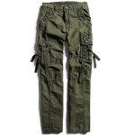 Zip Fly Cargo Pants with Multi Pockets - ARMY GREEN