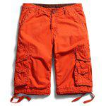 Flap Pockets Straight Cargo Shorts - JACINTH