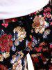 All Over Flowers Printed Drawstring Skinny Pants - COLORMIX