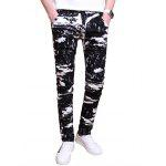 All Over Printed Zipper Fly Skinny Pants - BLACK