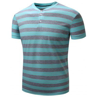Rib Panel Color Block Stripe Polo T-shirt