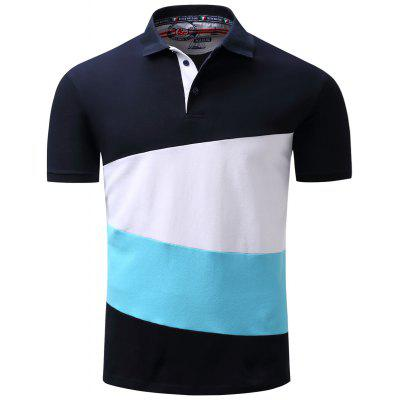 Short Sleeve Color Block Panel Polo T-shirt