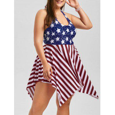 Buy DEEP RED XL Plus Size Patriotic American Flag Dressy Tankini for $25.36 in GearBest store