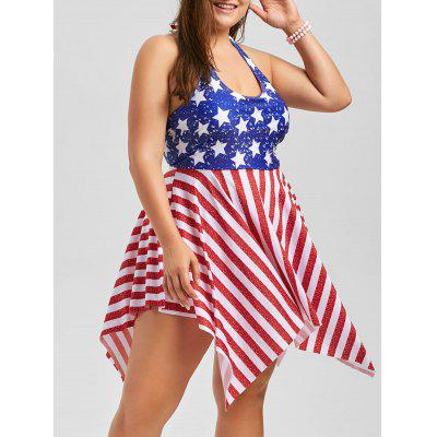 Buy COLORMIX 5XL Plus Size Patriotic American Flag Dressy Tankini for $25.36 in GearBest store
