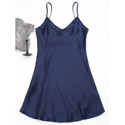 Buy PURPLISH BLUE M Satin Babydoll Dress for $24.38 in GearBest store