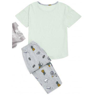 Cartoon Print T-Shirt And Capri PantsPajamas<br>Cartoon Print T-Shirt And Capri Pants<br><br>Material: Polyester<br>Package Contents: 1 x T-Shirt  1 x Pants<br>Pattern Type: Character<br>Weight: 0.3700kg