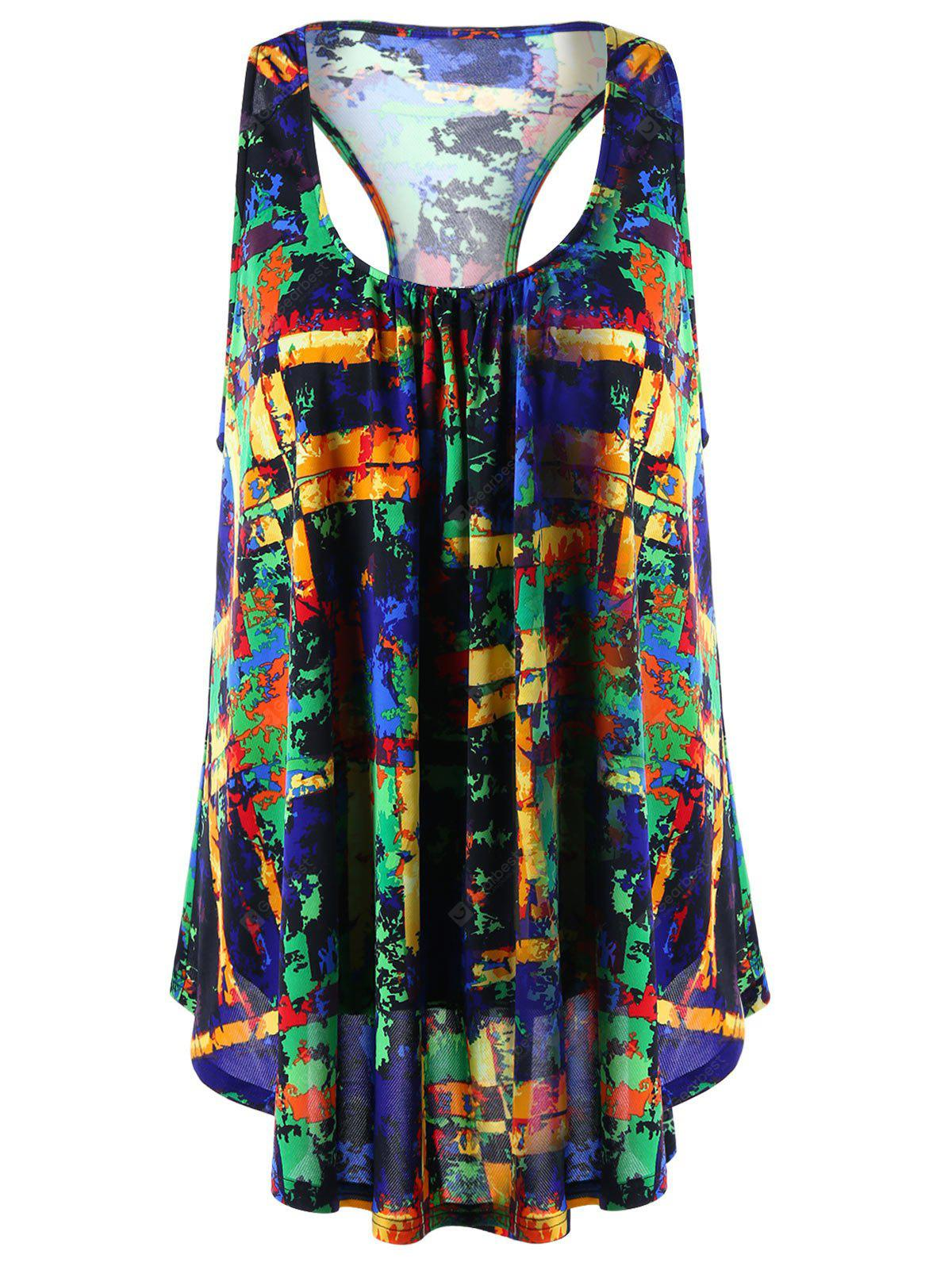 COLORMIX 2XL U Neck Colorful Print Racerback Top