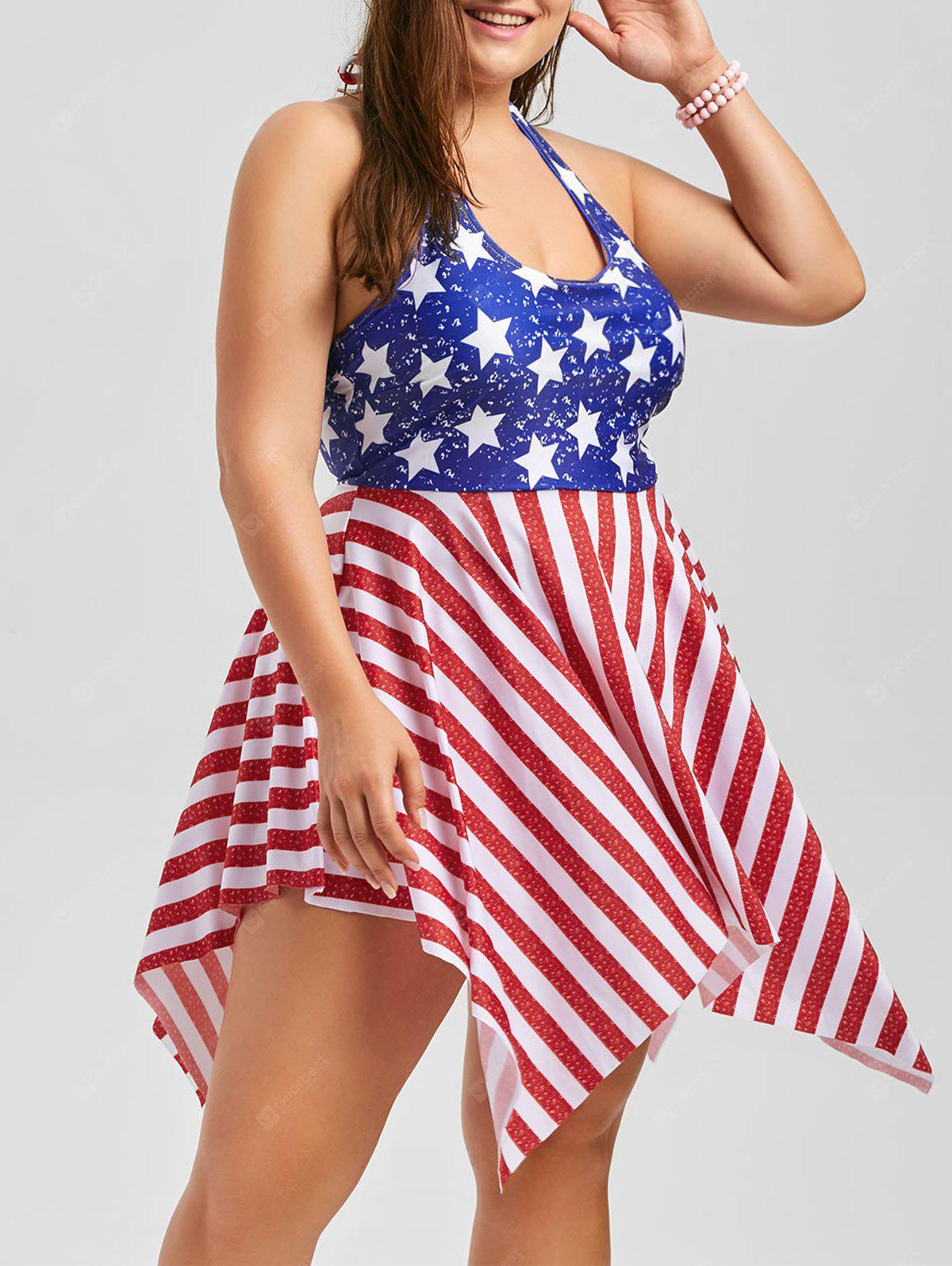 COLORMIX 2XL Plus Size Patriotic American Flag Dressy Tankini
