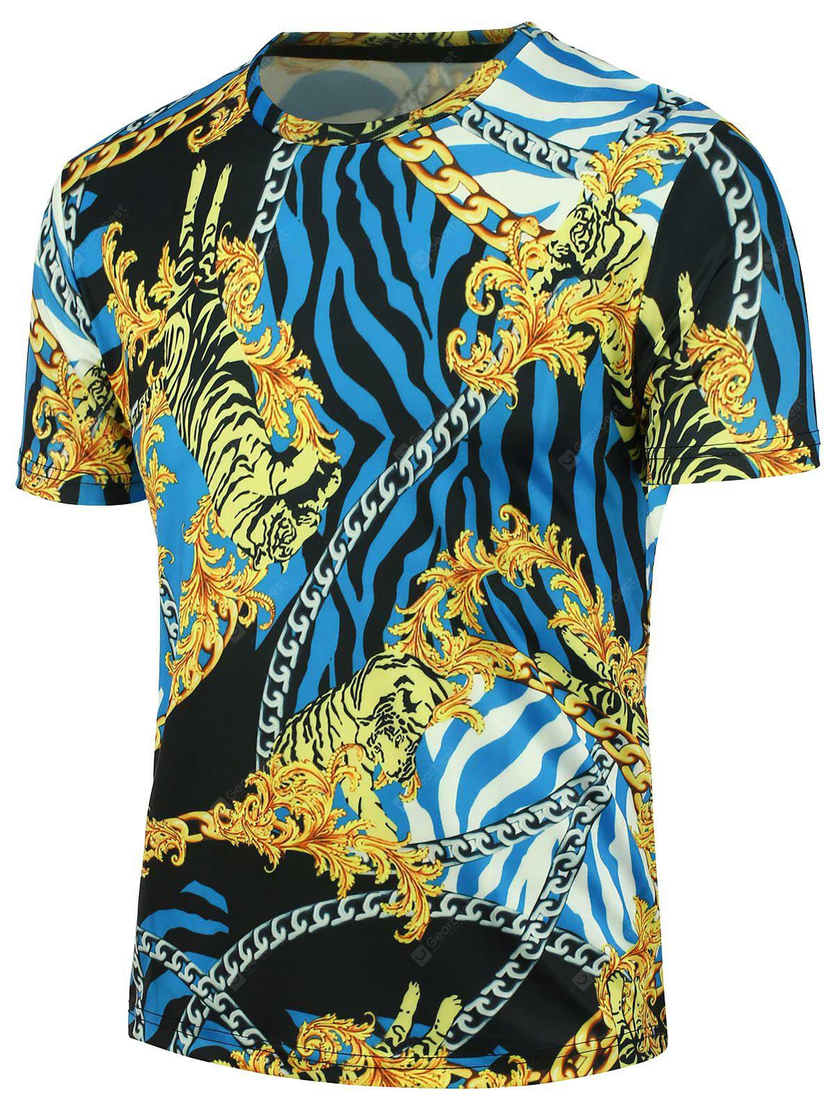 Crew Neck 3D Tiger Chain and Stripe Print T-shirt