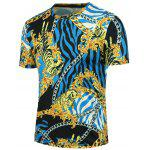 Crew Neck 3D Tiger Chain and Stripe Print T-shirt - BLACK