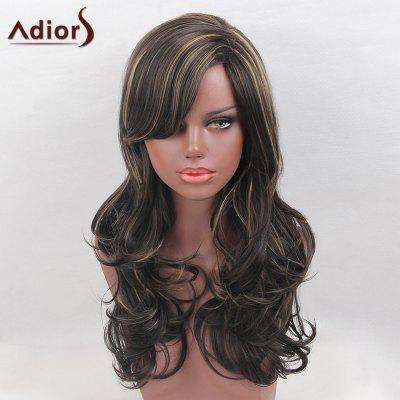 Maiores Long Side Bang Highlight Colormix Layered Curly Synthetic Wig