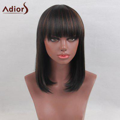 Peruca sintética de Straight Bob Straight Line Medium Full Bang
