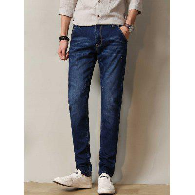 Buy DEEP BLUE Zipper Fly Stretchy Straight Leg Distressed Jeans for $29.72 in GearBest store