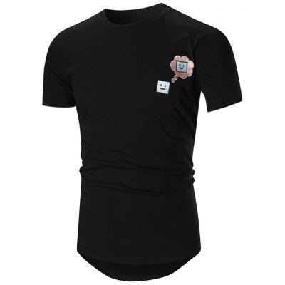 Smile Embroidered High-Low Tee Shirt