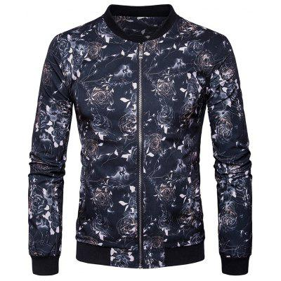 Floral Printed Zip Up Bomber Jacket