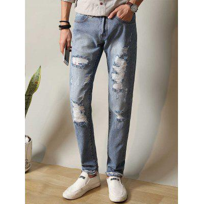Buy CLOUDY Zipper Fly Metal Loop Straight Leg Ripped Jeans for $31.26 in GearBest store