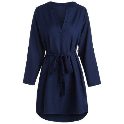 Long Sleeve V Neck High Low DressWomens Dresses<br>Long Sleeve V Neck High Low Dress<br><br>Dresses Length: Knee-Length<br>Material: Cotton, Polyester<br>Neckline: V-Neck<br>Occasion: Going Out, Casual<br>Package Contents: 1 x Dress 1 x Belt<br>Pattern Type: Solid Color<br>Season: Fall, Spring<br>Silhouette: High-Low<br>Sleeve Length: Long Sleeves<br>Style: Casual<br>Weight: 0.3000kg<br>With Belt: Yes