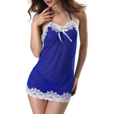 Buy BLUE 2XL Mesh Halter Babydoll With Lace Trim for $14.34 in GearBest store
