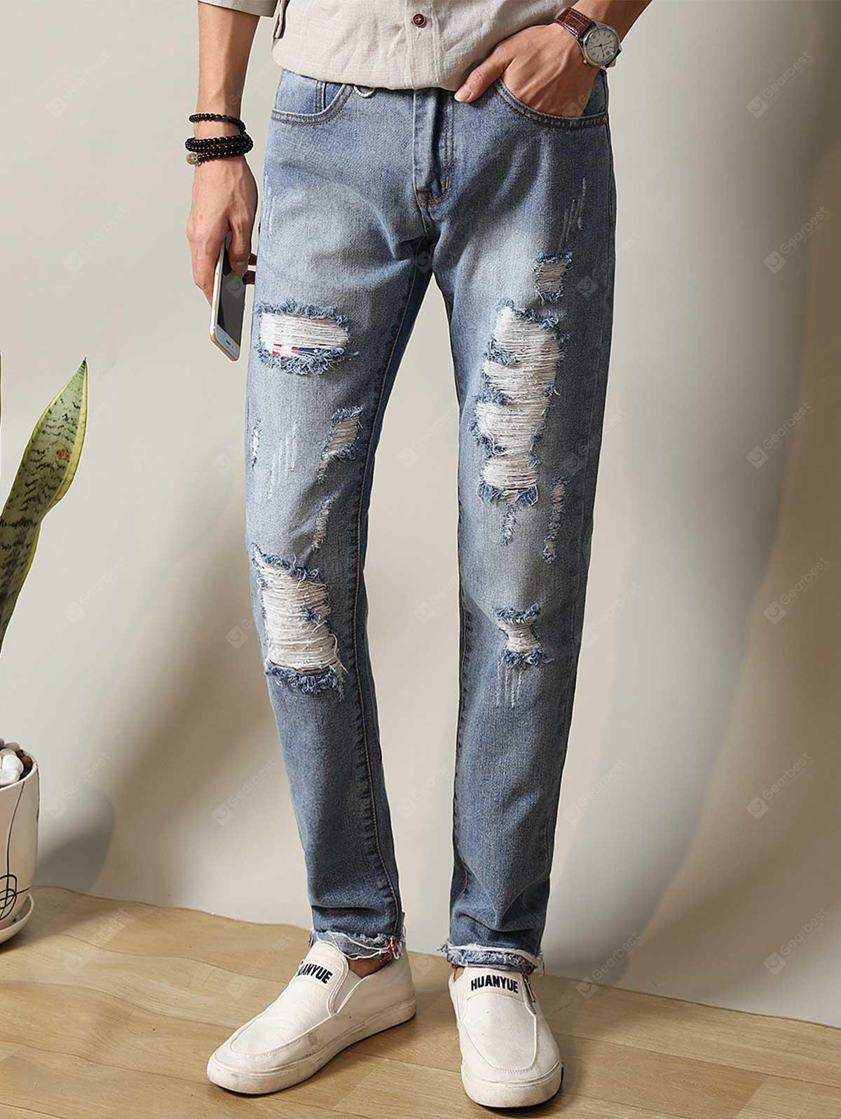 Zipper Fly Metal Loop Straight Leg Ripped Jeans