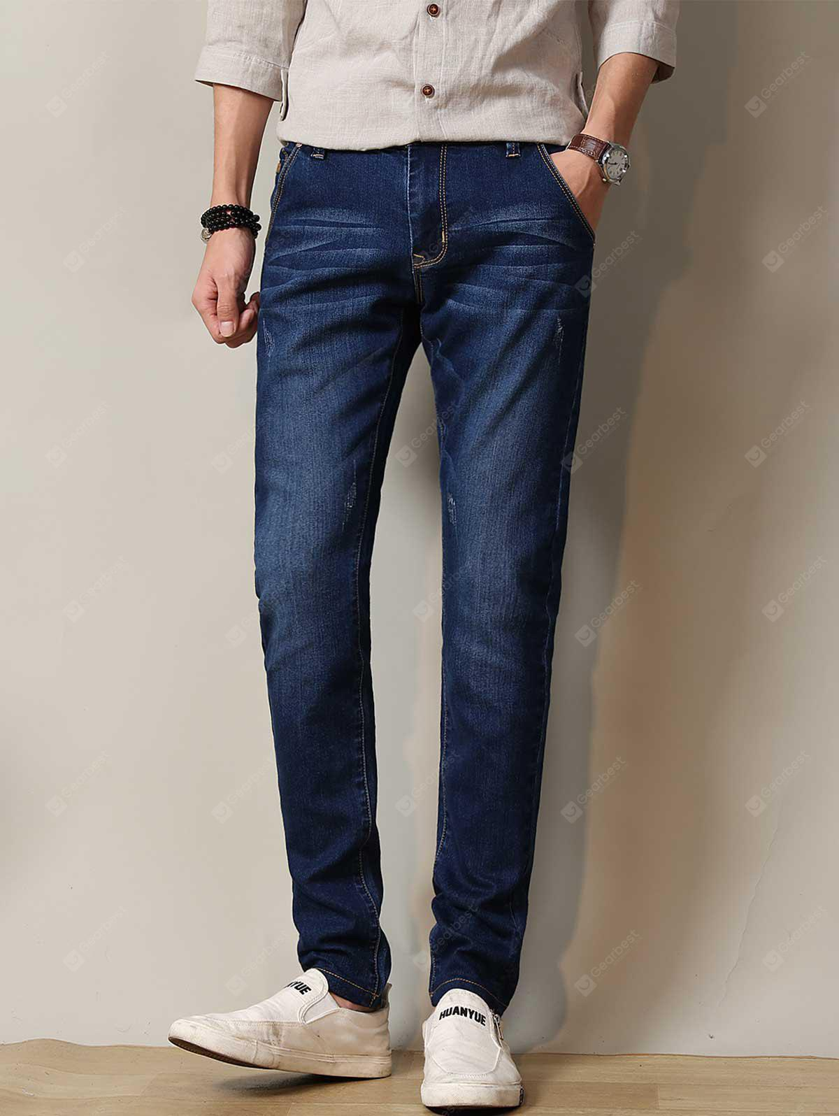 Zipper Fly Stretchy Straight Leg Distressed Jeans