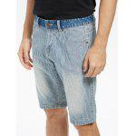 Vertical Stripes Zip Fly Denim Shorts - AZUL CLARO