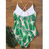 Ruffles One Piece Palm Leaf Backless Swimsuit - PINK