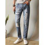 Zipper Fly Metal Loop Straight Leg Ripped Jeans - CLOUDY