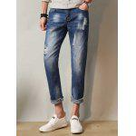 Zipper Fly Faded Ripped Nine Minutes of Jeans - DEEP BLUE