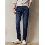 Zipper Fly Stretchy Straight Leg Distressed Jeans - AZUL ESCURO