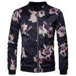 Flower Print Zip Up Bomber Jacket - BLACK