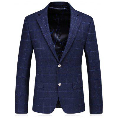Lapel Single Breasted Plaid Slim Fit Blazer