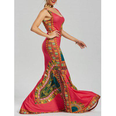 Buy RED 2XL U Neck Printed Floor Length Mermaid Dress for $18.62 in GearBest store