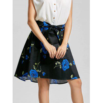 Belted Floral High Low Skirt