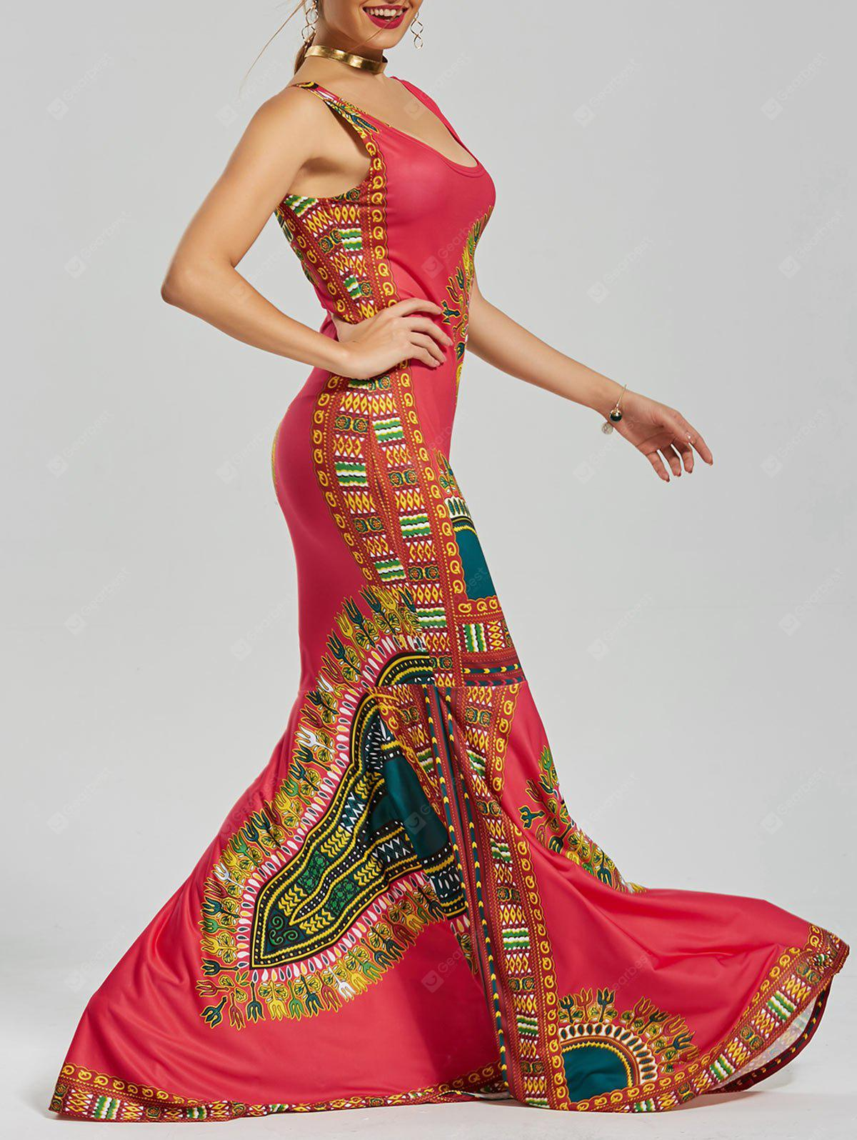 RED XL U Neck Printed Floor Length Mermaid Dress