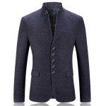 Stand Collar Single Breasted Slim Fit Blazer - GRIS