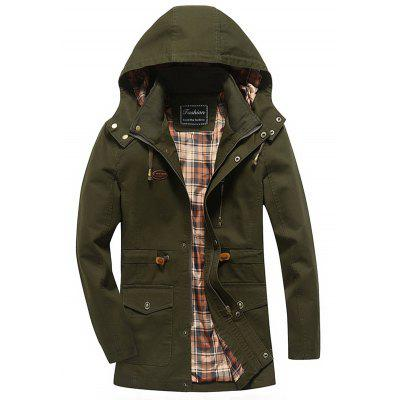 Snap Button Zipper Fly Design Hooded Coat