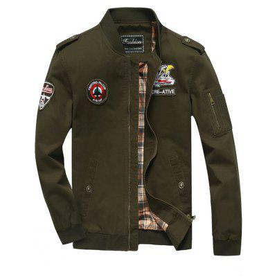 Patch Design Zip Fly Bomber Jacket