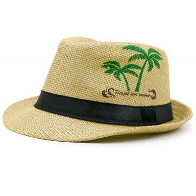 Coconut Tree Letters Printed Ribbon Straw Hat