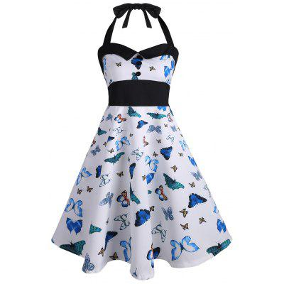 Buy BLUE M Vintage Halter Butterfly Print Pin Up Dress for $24.18 in GearBest store