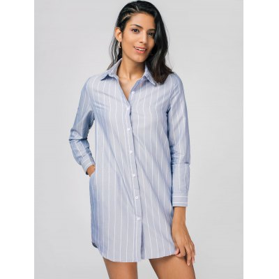High Low Stripes Shirt DressWomens Dresses<br>High Low Stripes Shirt Dress<br><br>Dresses Length: Mini<br>Material: Cotton, Polyester<br>Neckline: Shirt Collar<br>Occasion: Causal, Day, Going Out<br>Package Contents: 1 x Dress<br>Pattern Type: Striped<br>Season: Fall, Spring, Summer<br>Silhouette: A-Line<br>Sleeve Length: Long Sleeves<br>Style: Casual<br>Weight: 0.2950kg<br>With Belt: No