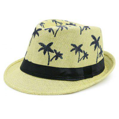 Ribbon Embellished Coconut Tree Pattern Straw Hat