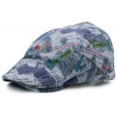 Retro Notes Pattern Flat Cap