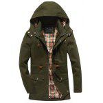 Snap Button Zipper Fly Design Hooded Coat - ARMY GREEN