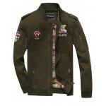 Patch Design Zip Fly Bomber Jacket - ARMY GREEN