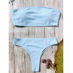 Rib Texture High Leg Bandeau Bikini Set - LIGHT BLUE