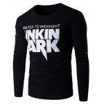 Graphic Pattern Long Sleeve T-shirt - BLACK