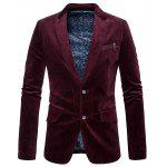 Zipper Pocket Design Single Breasted Blazer - ROUGE VINEUX