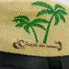 Coconut Tree Letters Printed Ribbon Straw Hat - GINGER